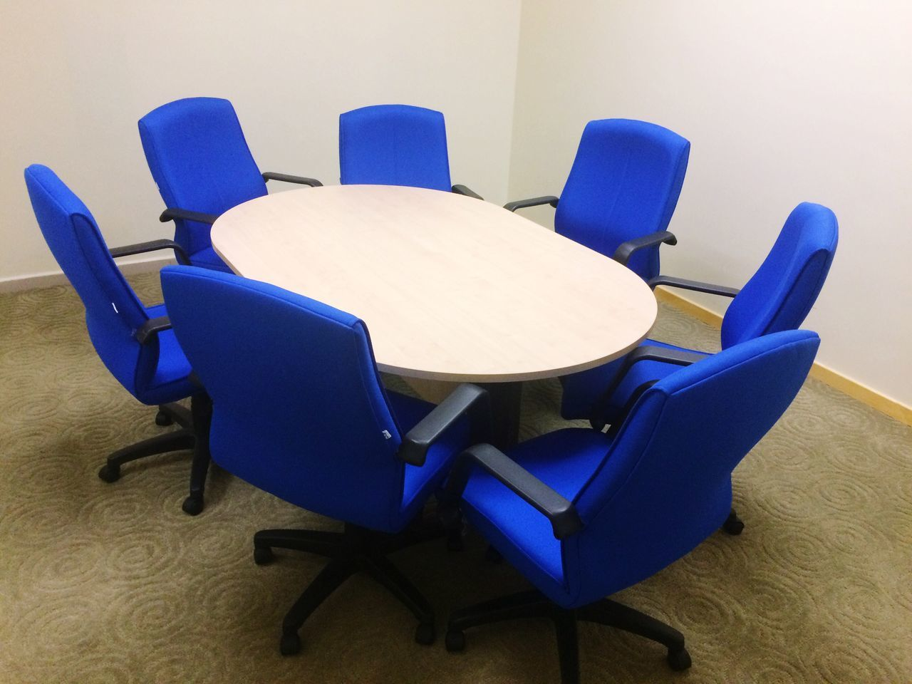 chair, empty, indoors, absence, table, blue, seat, no people, office chair, wood - material, furniture, armchair, purple, close-up, day
