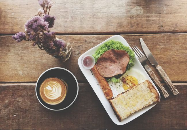 Breakfast Morning Table Food And Drink Coffee Cup Breakfast Freshness Refreshment Flower Drink Coffee - Drink Healthy Eating Indoors  No People Plate Food Ready-to-eat Latte Close-up Day Western Big Breakfast Coffee Latte Coffee Art