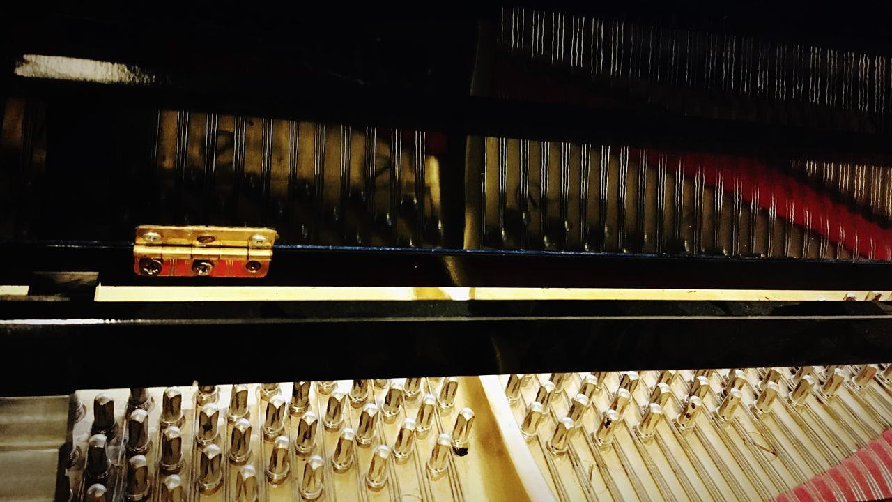 indoors, in a row, large group of objects, no people, arrangement, music, close-up, day