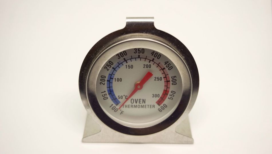Temperature Number Thermometer Gauge White Background No People Pressure Gauge