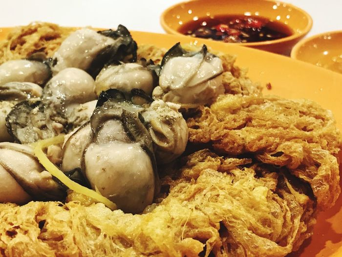 No People Close-up Temptation Oyster Egg Chinese Savory Food Yellow Orange Juicy Oysters Fried Egg Chili  Realfood Tempting Crispy