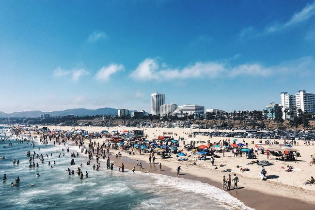 Santa Monica Beach... Refreshing Breeze With Views Over Pacafic Ocean. Summer USA California Beach Travel People Together