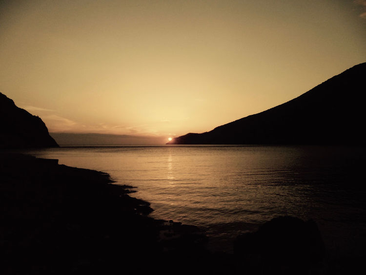 Sifnos, Greece Beauty In Nature Clear Sky Greece Mountain Nature No People Outdoors Scenics Sea Silhouette Sky Sunset Tranquil Scene Tranquility Water Live For The Story
