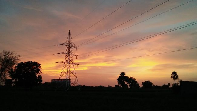 Tranquil Scene Sunset Silhouette Electricity  Power Line  Dark Scenics Cloud Beauty In Nature Outdoors Tranquility Eyeem Photography Mobile_photographer Man Photographer Of The Month NoEditNoFilter IMography Eyeem Market EyeEm Gallery Non-urban Scene Rural Scene Picoftheday At My Farm Thanks To All The Followers And The Nice Cmments Be Happy And Enjoy The Little Things With Love From India💚 truly...urs... Nitin
