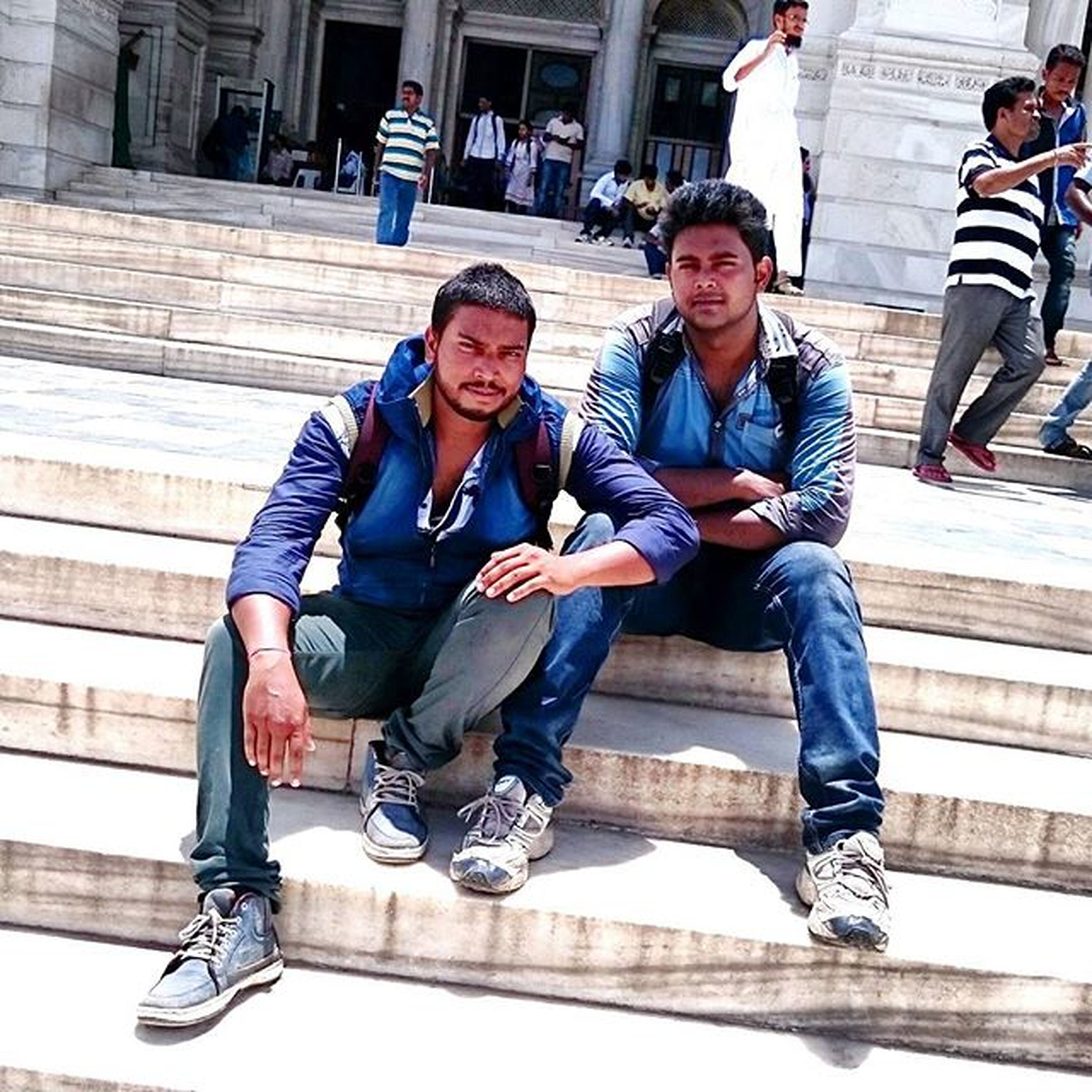 lifestyles, young adult, casual clothing, leisure activity, person, young men, full length, portrait, togetherness, looking at camera, front view, happiness, smiling, standing, bonding, mid adult men