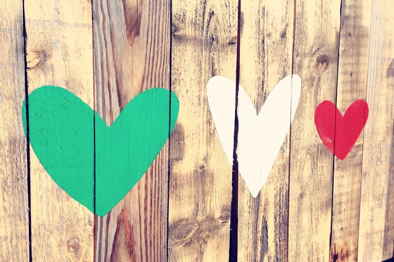 Must be love... Love... Love Love Heart Trio Italy Red Green Wood Paint New Brighton Wall Fence Romance Emotion