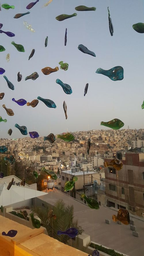 Adapted To The City Amman Jordan Architecture Chaos City Life Clusters Craftsman Fish Of Hebron Glass Fish Installation Art Love Of Sea