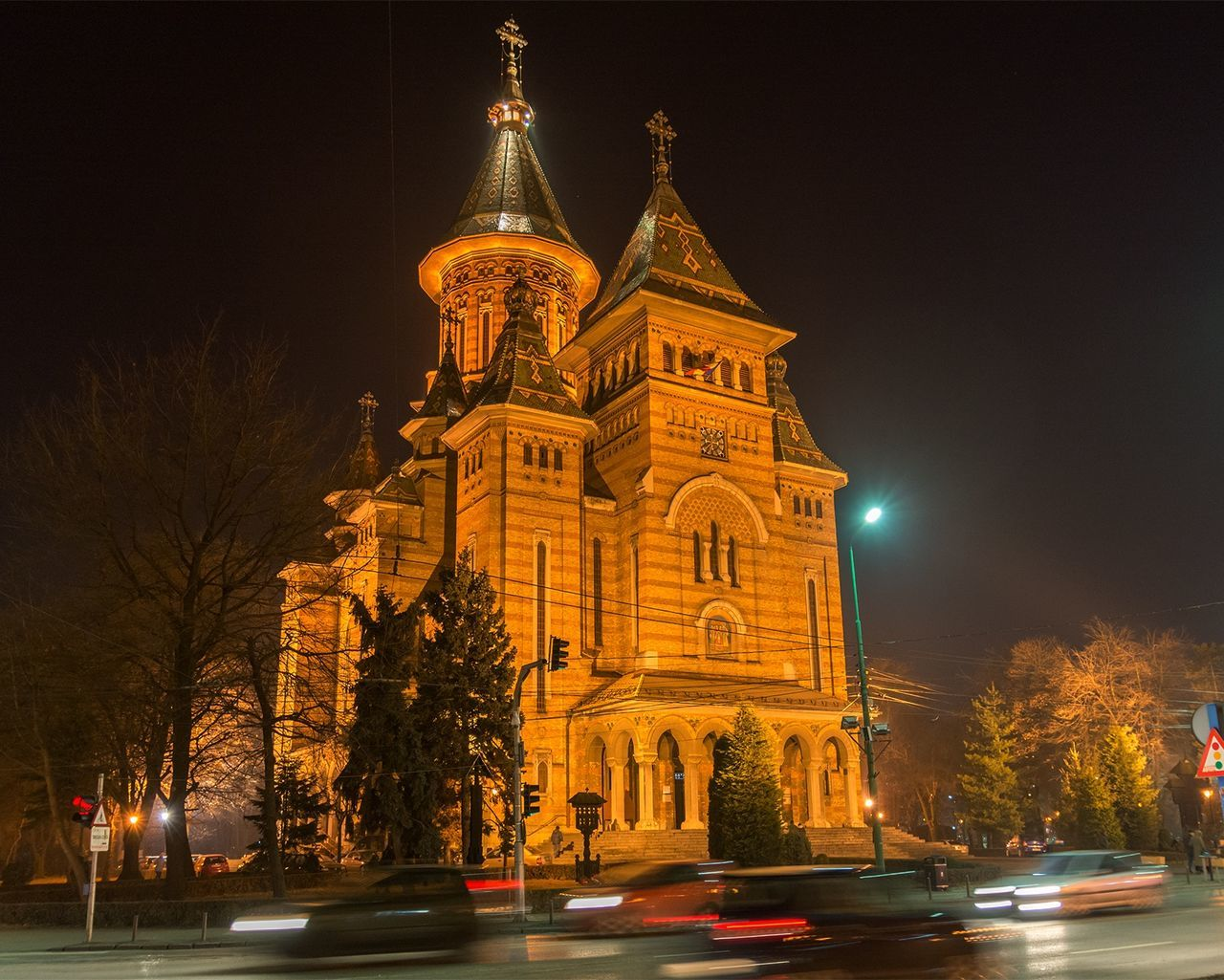 Timisoara Cathedral Orthodox Church Relegion Architecture Building Night Lights Night Photography Street Cars Cityscape City Romania Orthodox Cathedral Illuminated Night Center