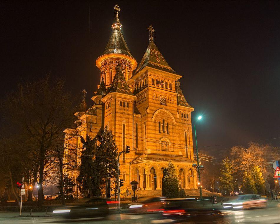 Timisoara Cathedral Orthodox Church Relegion Architecture Building Night Lights Night Photography Street Cars Cityscape City Romania Orthodox Cathedral Illuminated Night Center