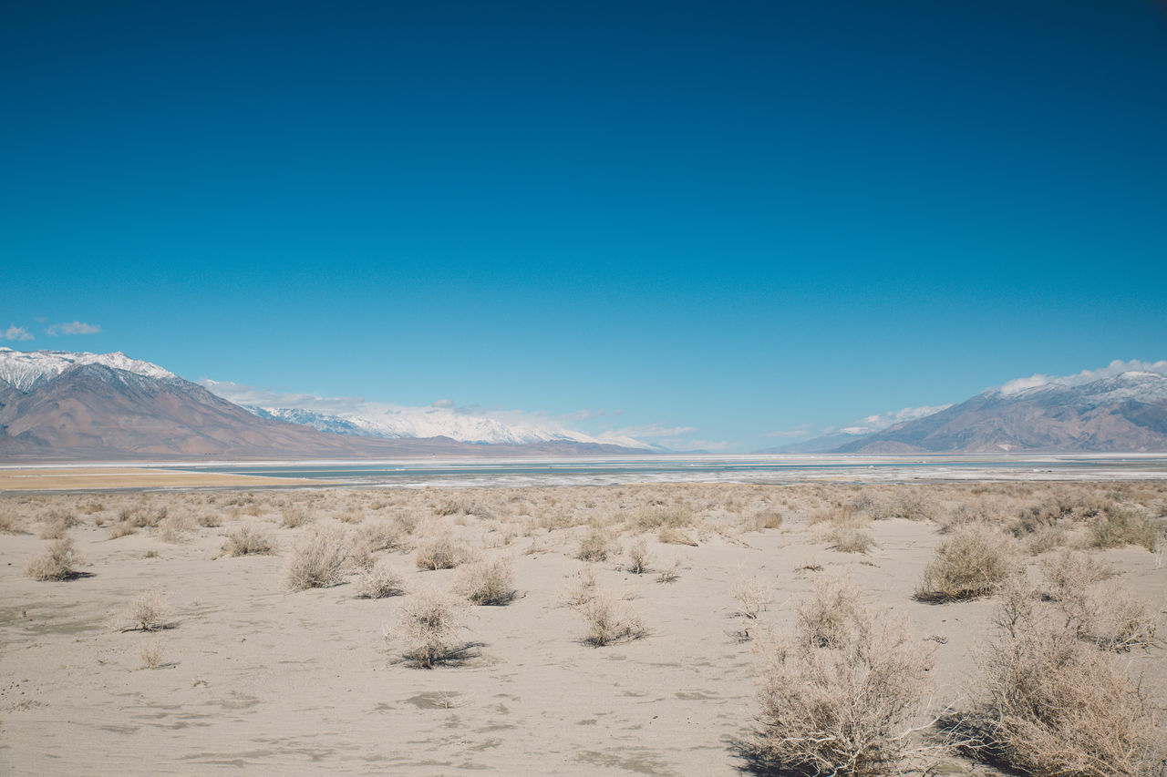 Arid Climate Arid Landscape Beauty In Nature Blue Blue Sky CA-190 California Coso Day Death Valley Desert Desert Landscape Mountain Mountain Range Nature Nature Outdoors Road Roadtrip Salt - Mineral Salt Flat Scenics Tranquil Scene Tranquility