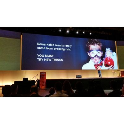"""""""Remarkable results rarely come from avoiding RISK """" you must try new things. Quote Inbound14"""