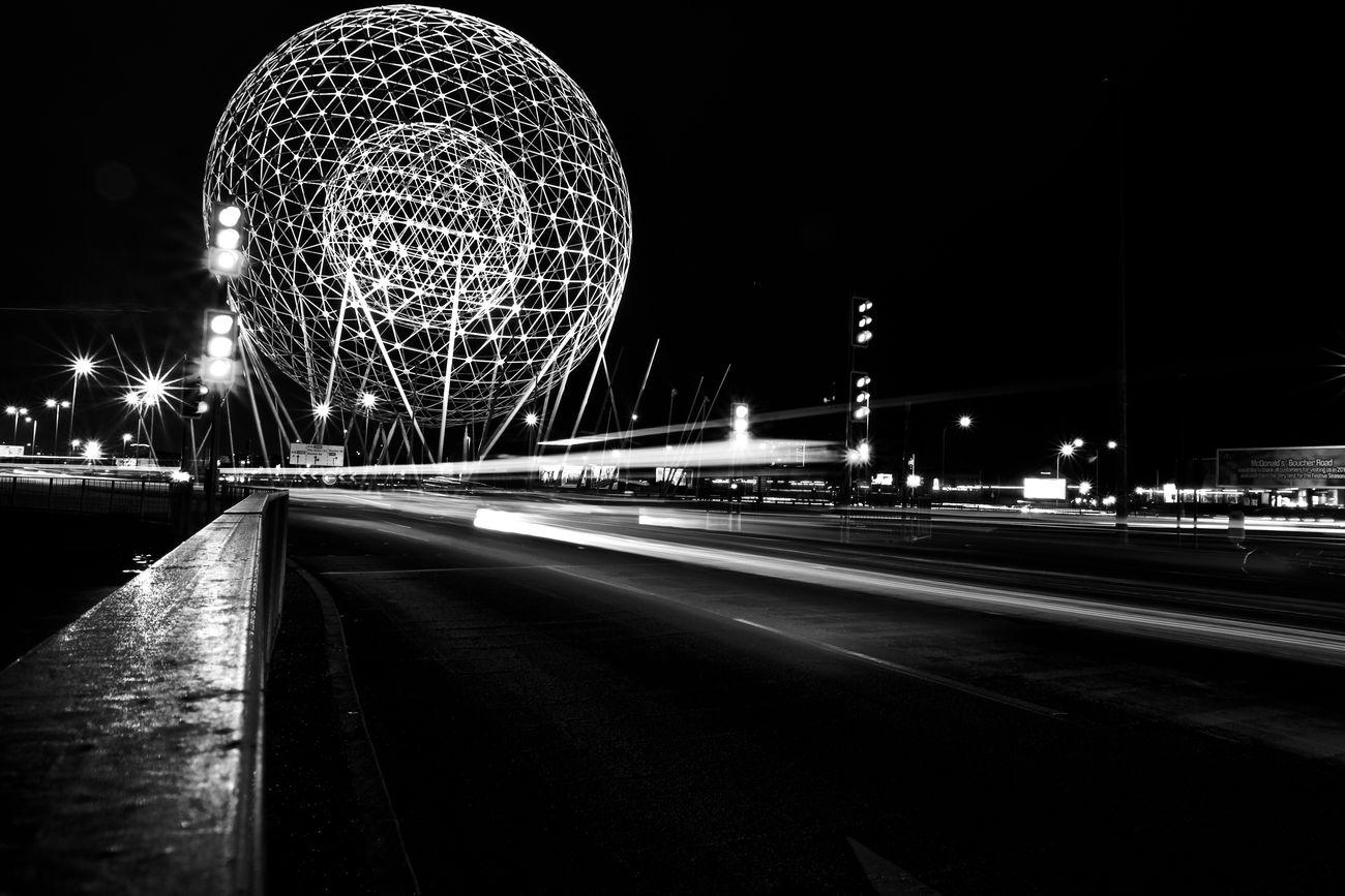 Architecture Blackandwhite Blurred Motion Fujifilmxt10 Illuminated Light Trail Long Exposure Motion Night Nightlife Outdoors Sky Speed Transportation