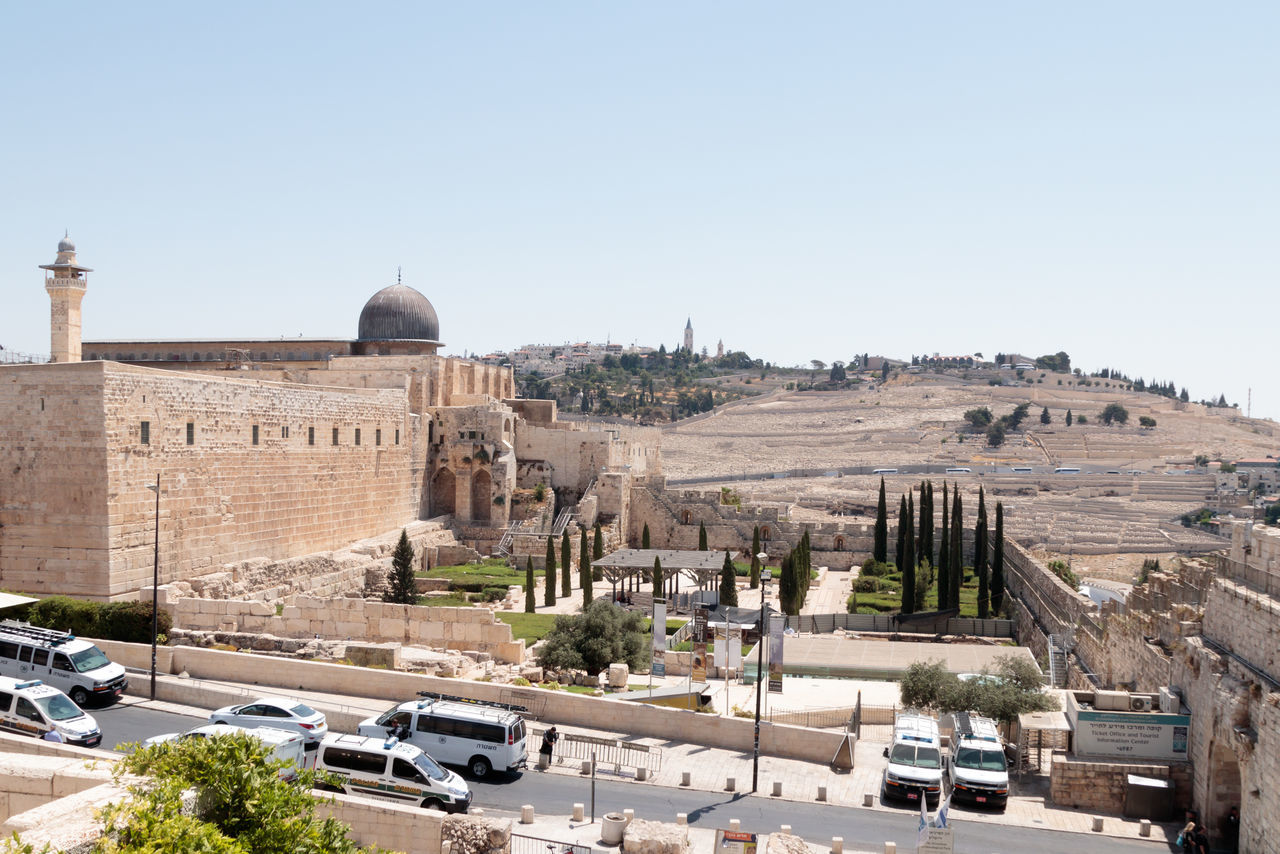 Jerusalem, Israel, July 14, 2017 : View of the Temple Mount and Mount of Olives Jerusalem Cemetery in the Old City of Jerusalem, Israel Al-Aqsa Mosque Ancient Architecture Country Dung Gate El-Ghawanima Tower Israel, Holiday, Sky, Filter, Trees, Birds Jerusalem Cemetery Middle East Wall Arab Architecture Built Structure Culture Day Dome History Holy Jerusalem Judaism Mount Of Olives Muslim Old Religion Temple Mount