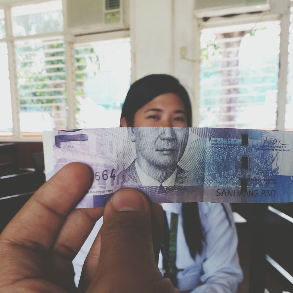 Creativity is just Fun! EyeEm Showcase: November Creative Minimalism EyeEm Gallery Eyeemphotography School Classmate Currency Eyeem Philippines Money Hands At Work Blue Moneyface Samsung Galaxy Camera Faces Paper View