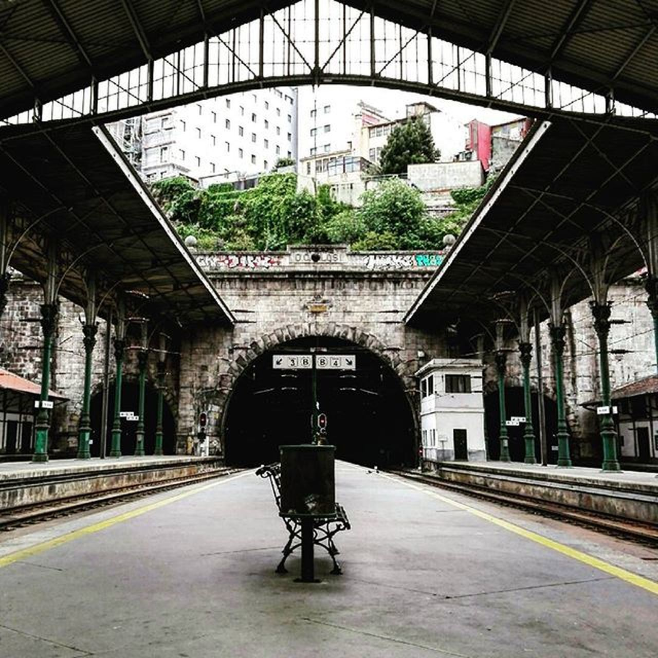 Sbento Station Oporto Street Portugal Underground Train Railstation Rails