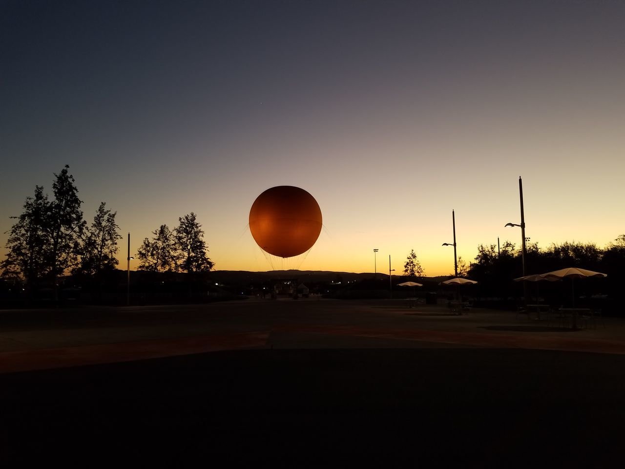Almost same with supermoon Sunset Tree No People Silhouette Outdoors Nature Sky Night Hot Air Balloon