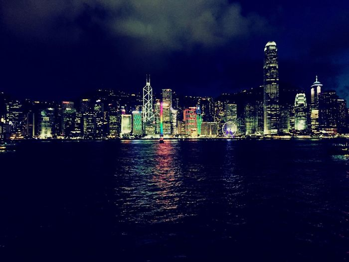 Victoria Harbour by night #HK ###Hongkong Victoria Harbour Night City Cityscapes ASIA Sea Neon Neon Lights HongKong