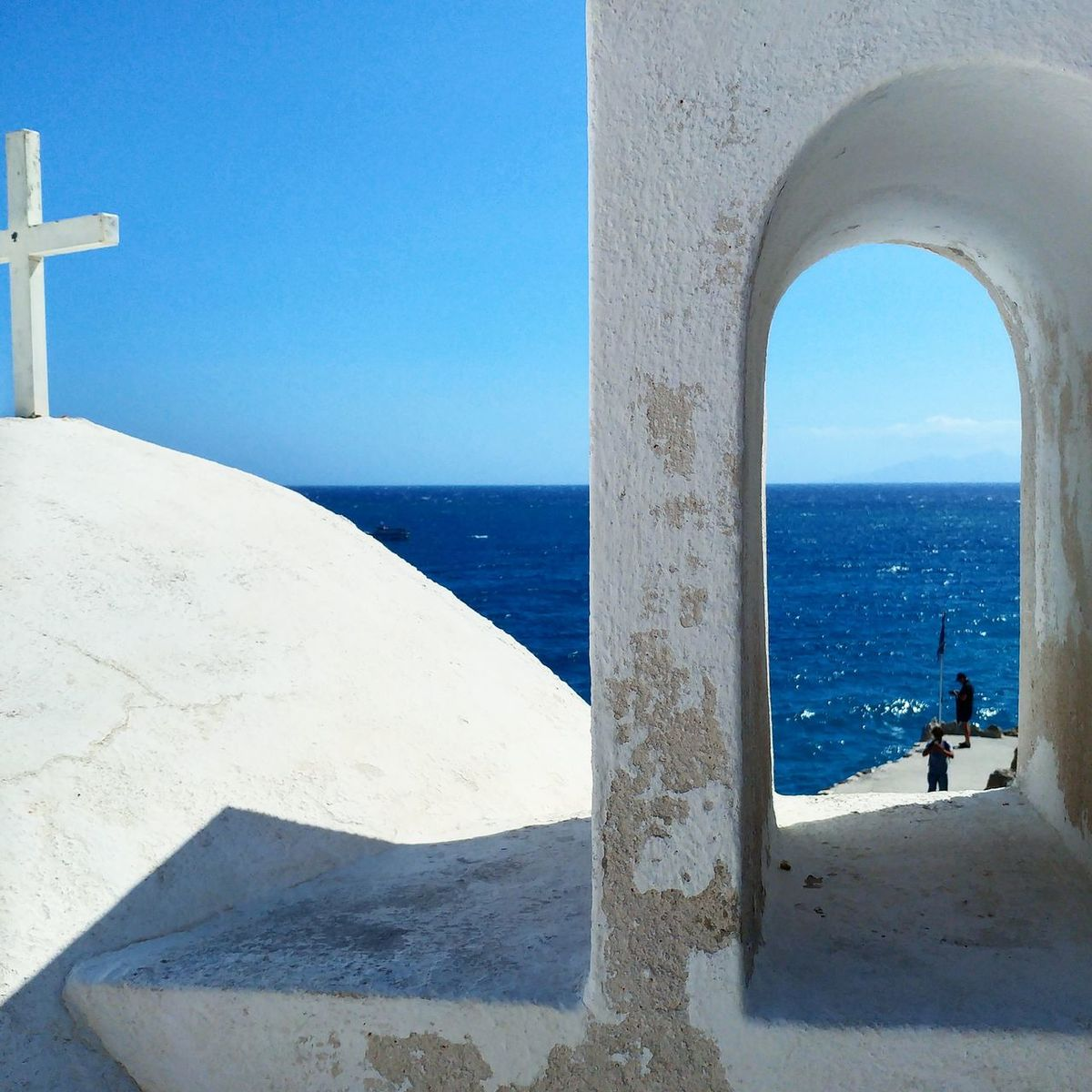 Santorini Architecture Sea Sun Religion Santorini, Greece City Spirituality Built Structure Clear Sky Sky White Color Cyan Kamari Kamari Beach