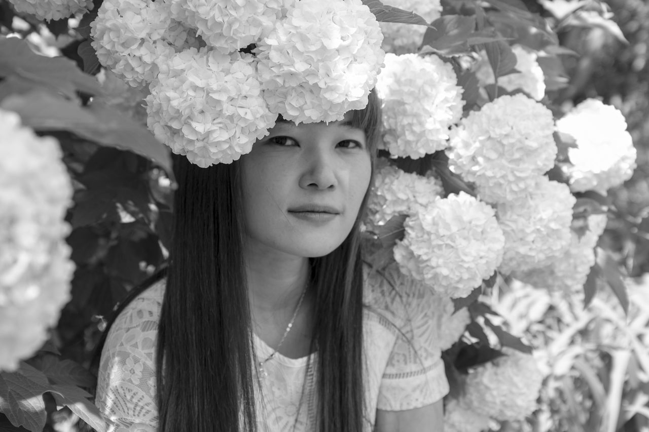Blackandwhite Blooming Enjoying Life EyeEm Best Shots EyeEm Nature Lover EyeEmNewHere First Eyeem Photo Flower Flower Head Freshness Getting Inspired Growth Hello World Light And Shadow Monochrome Nature One Person Outdoors People Portrait Taking Photos The Portraitist - 2017 EyeEm Awards Welcome To Black Women Women Around The World Place Of Heart