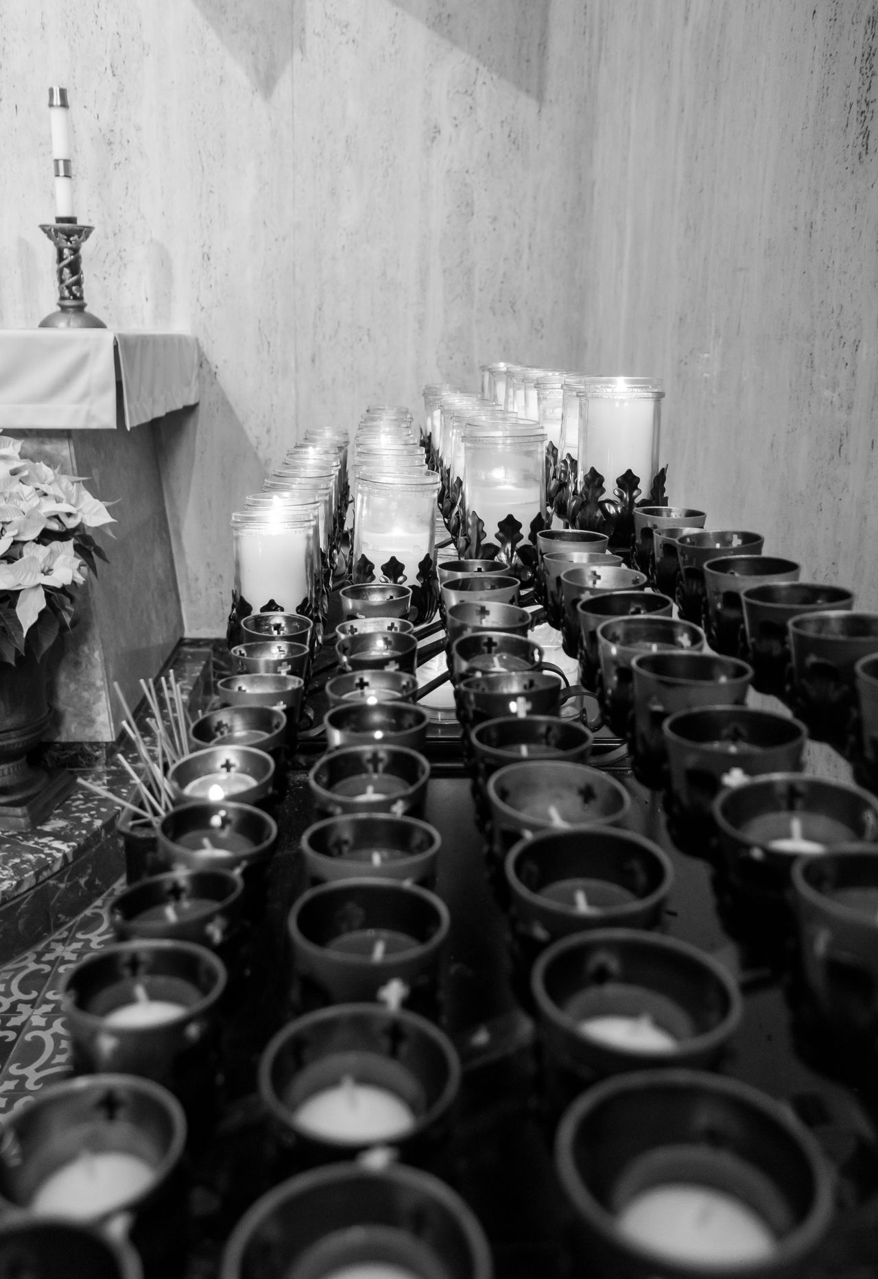 Black Black & White Black And White Blackandwhite Candles Church Churches In A Row Indoors  No People Order Pattern Silence