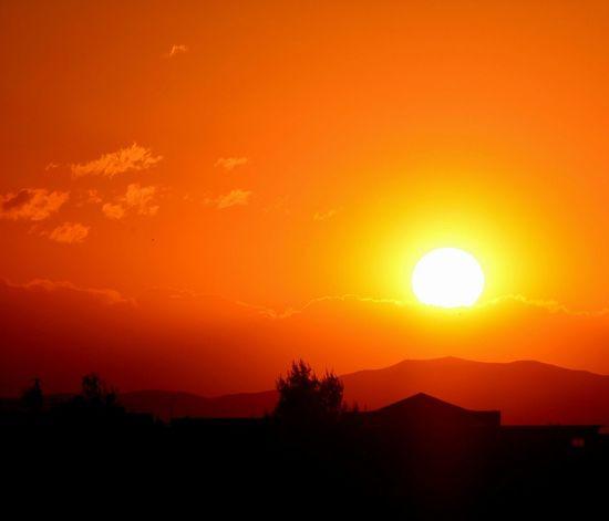 Sunset Beautiful Sky And Clouds Oujda Morocco Orange Sun