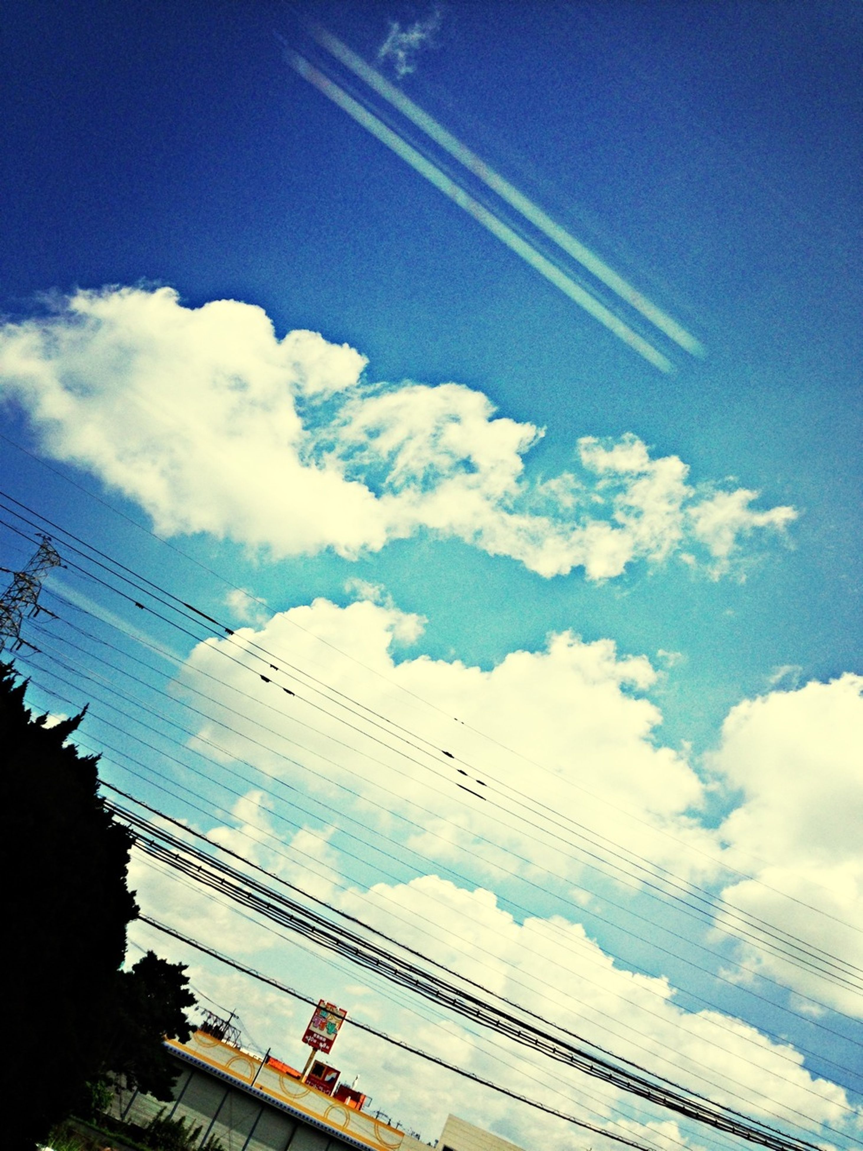 sky, low angle view, power line, connection, electricity pylon, cable, cloud - sky, bird, blue, transportation, animal themes, flying, silhouette, cloud, electricity, nature, power cable, power supply, day