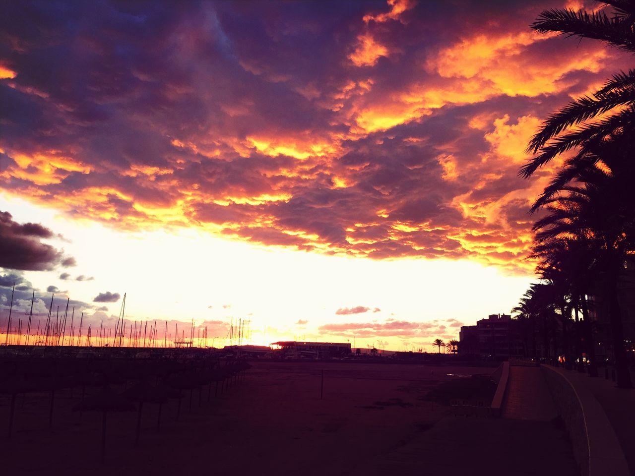 sundown in can pastilla Mallorca Sundown Feuerwolken Burning Sky