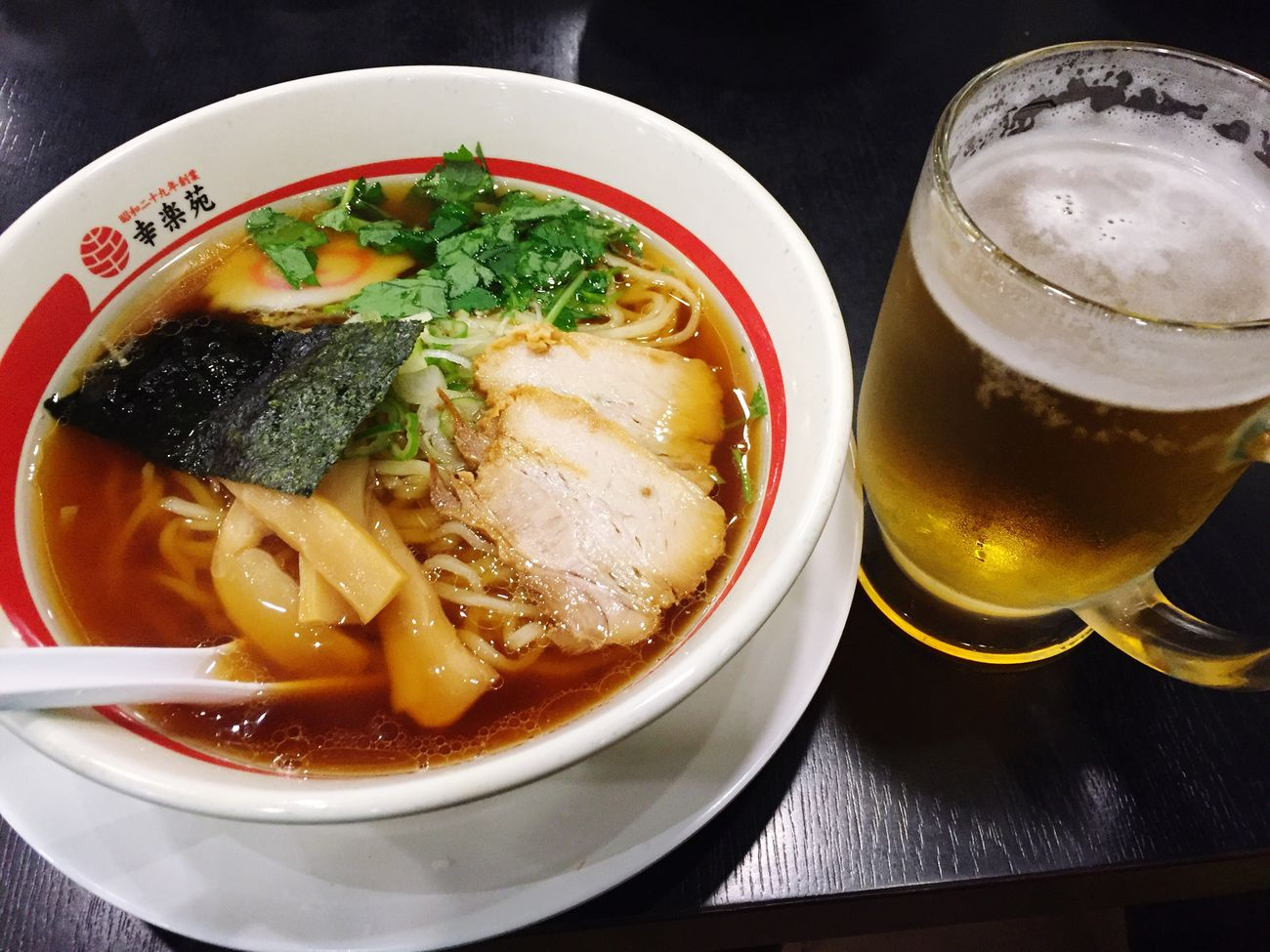 中華ラーメンと麦酒 頂き 麦酒 ラーメン Beer