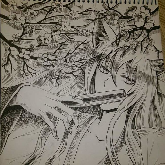 my other friend drew it for me, it's a 'tomoe' from 'kamisama hajimemashita'. the drawing is done so well, I have no words really. I was almost crying from happiness when I saw this. Drawing Tomoe Kamisama Hajimemashita Anime Manga