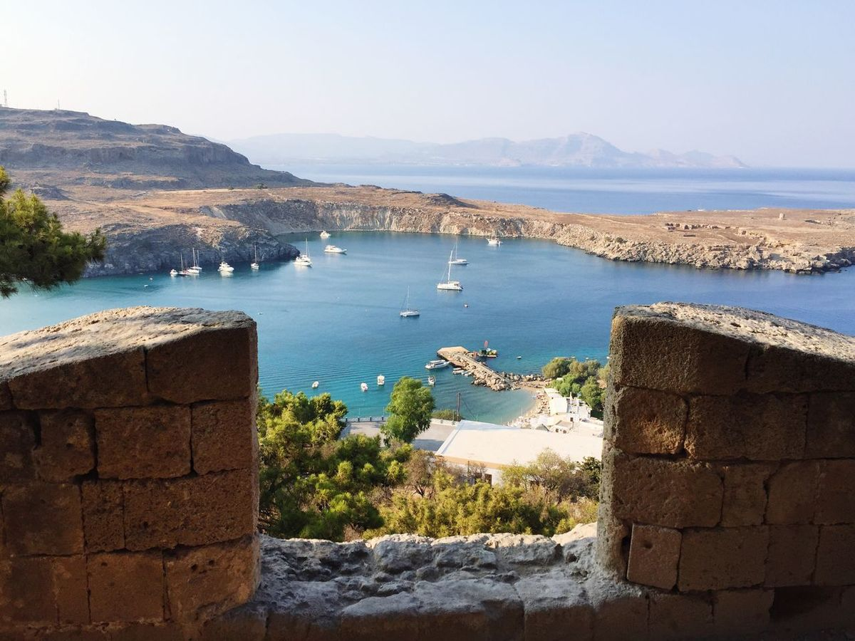 Lindos View From Above Nice View Wonderful Day Beautiful Cloudless Ocean Greece Amazing