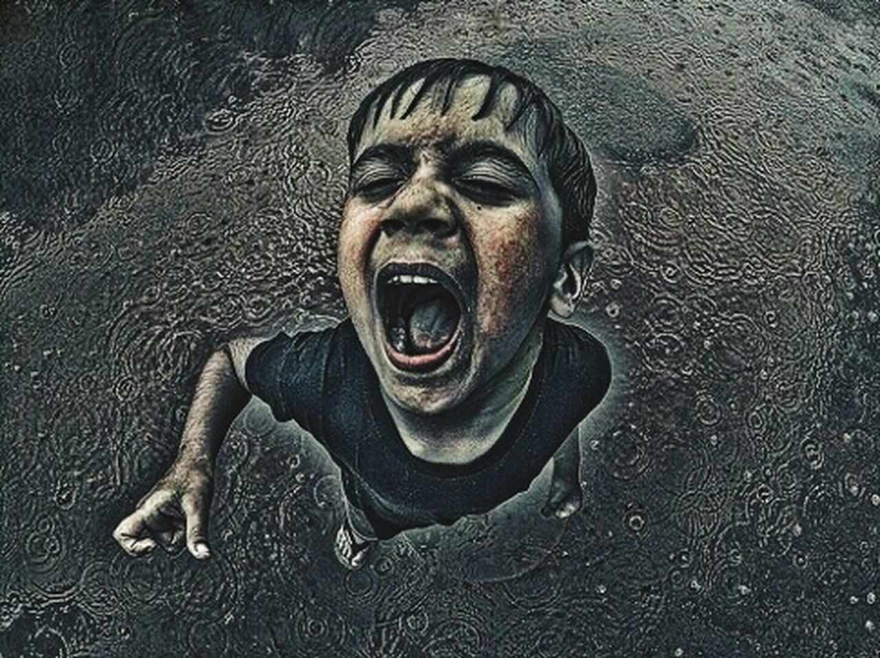 Fine Art Photography Shouting Fight For Right Expressions Top View Rain Rainy Days Rain Drops Drastic Edit Close-up Feelings Dark Thoughtful Body Language Angry Boy Loudthougts EyeEm Best Shots Eye4photography  EyeEm Gallery top angle view Detail Check This Out
