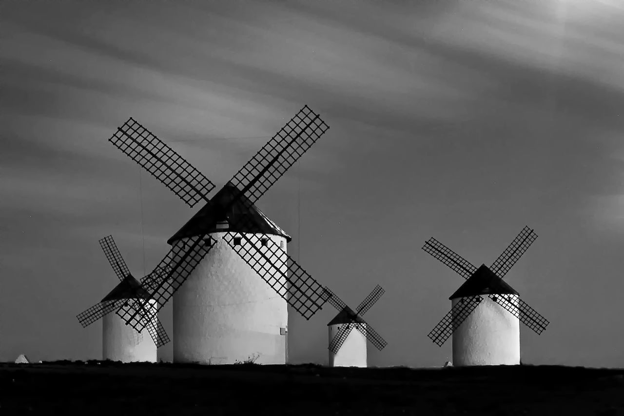 La Mancha Monochrome Photography Don Quijote Renewable Energy Fuel And Power Generation Wind Power Windmill Alternative Energy Rural Scene Sky Environmental Conservation Low Angle View Wind Turbine Field Outdoors Tall Day Solitude Industrial Windmill No People Countryside Remote La Mancha Miguel Cervantes Criptana EyeEmedityGetyimagenes