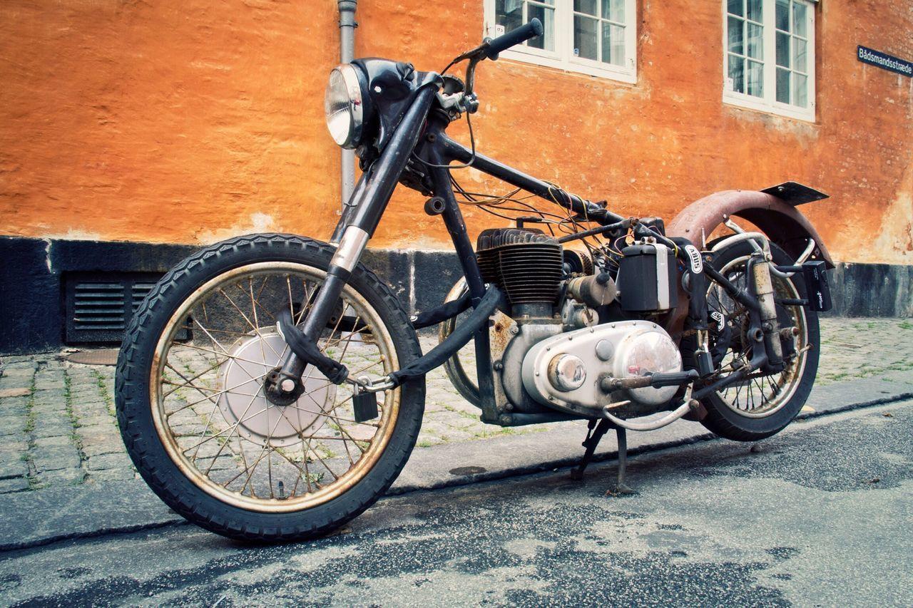 Motorcycles in Copenhagen Street