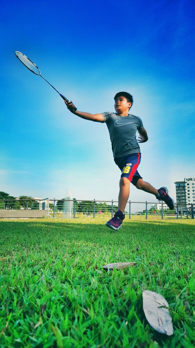 People And Places Playing Badminton Nuvaliph Nuvali, Laguna Childhood Leisure Activity Clear Sky Nike, Just Do It Nike Shoes Grass Fun Morning Exercise Taking Pictures Eyeem Photography EyeEm Gallery Eyeem Philippines Nice Weather Taking Photos Picoftheday