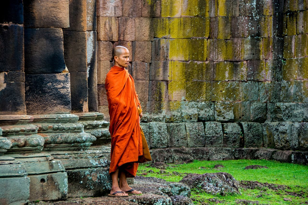 Monk at the Old Temple Adult Asian  Asian Culture Buddhism Buddhist Monks Day Full Length Monk  One Person Outdoors People Phanom Rung Phanom Rung Historical Park Phanomrung  Southeast Asia Traditional Clothing Miles Away