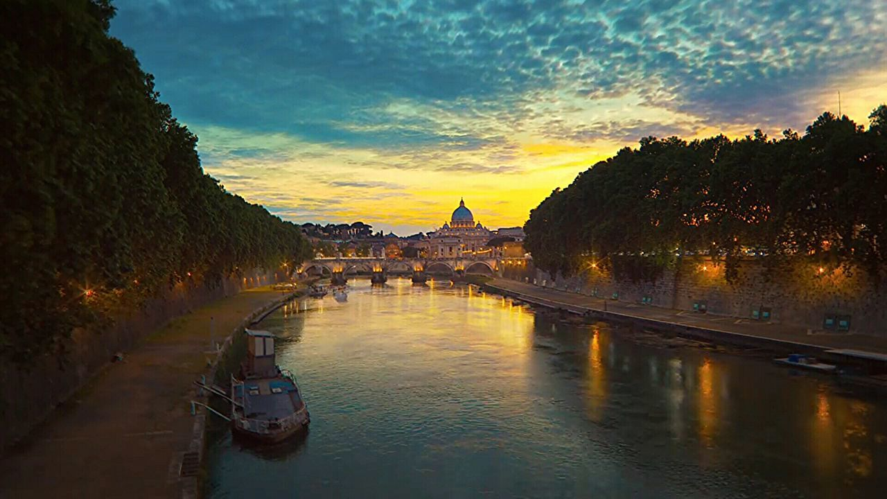 Reflection Sunset Water Travel Reflection Travel Destinations Rome, Italy Rome Italy🇮🇹 Tevere River Rome Bridge Ship Rome By Night Colour Photography Architecture_collection Tevere Cityscape History Tourism Architecture Multi Colored Gold Colored Sky