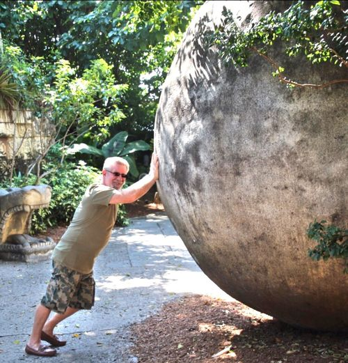 TCPM One Person With The Weight Of The World!!! Outdoors Daytime One Man Only One Boulder greenery all around