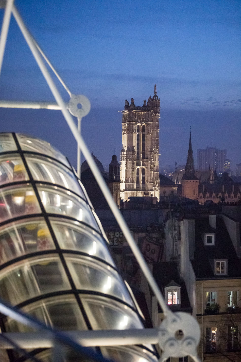 Paris Tour Saint-Jacques Centre Pompidou Paris By Night Paris La Nuit Laowa Laowa105mm Architecture Built Structure Building Exterior City Sky Travel Destinations No People Clock Modern Illuminated Skyscraper Outdoors Clock Tower Day