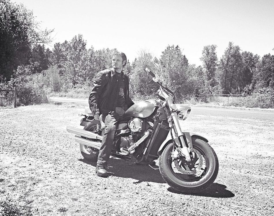 Me and the bike. Black & White Oregon Self Portrait Motorcycle
