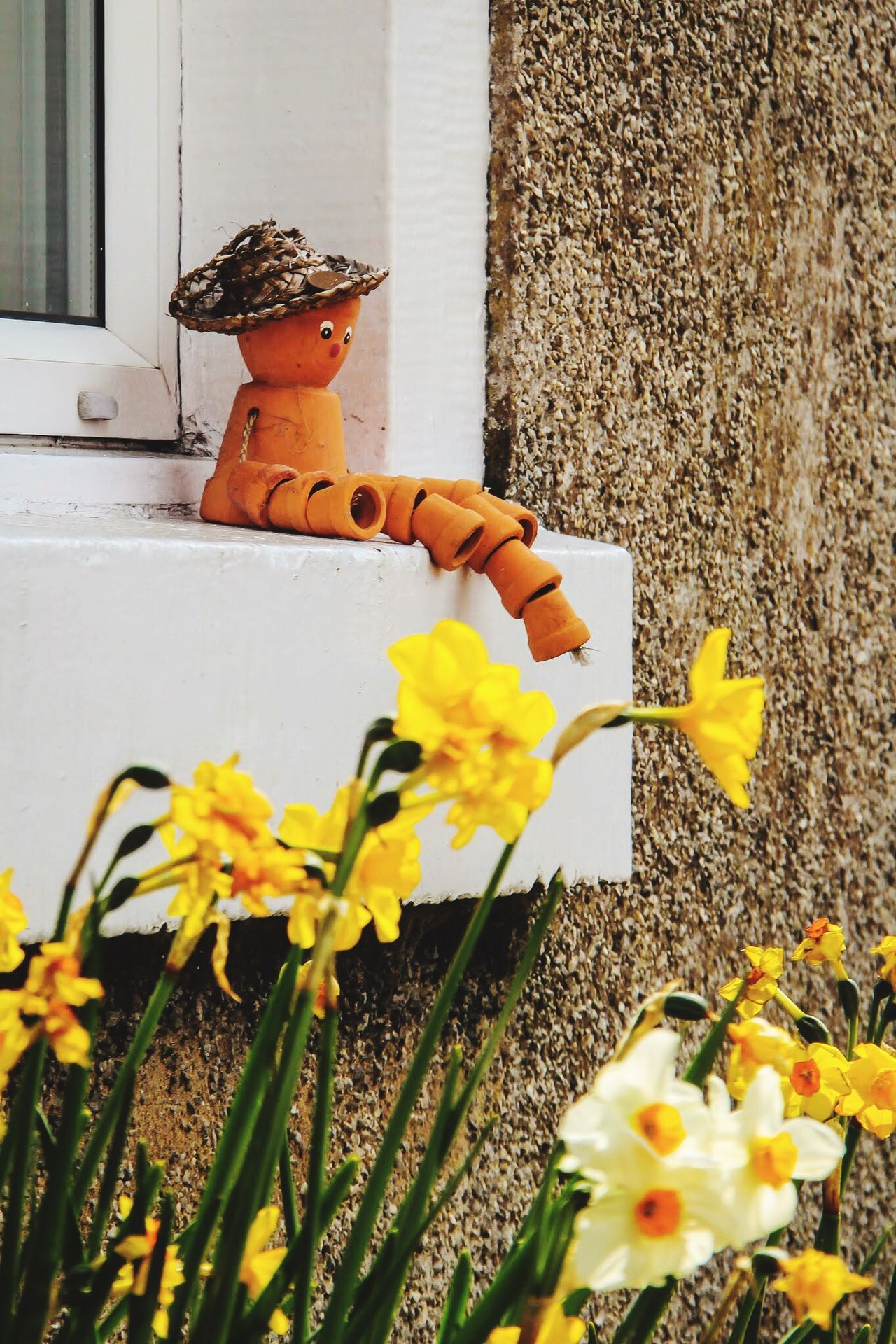 Watching you as you bloom Flower Outdoors Yellow Daffodils Flowers Clay Sculpture On The Window Sat Watching You