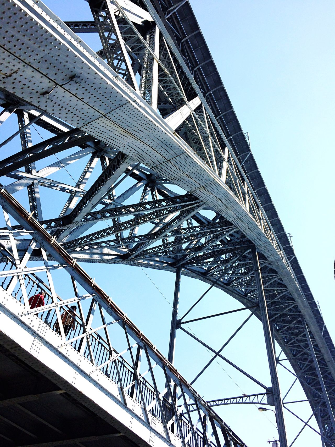 EyeEm Selects Bridge - Man Made Structure Architecture Built Structure Low Angle View Connection Metal Travel Destinations Travel Outdoors Transportation Day Sky Girder City People