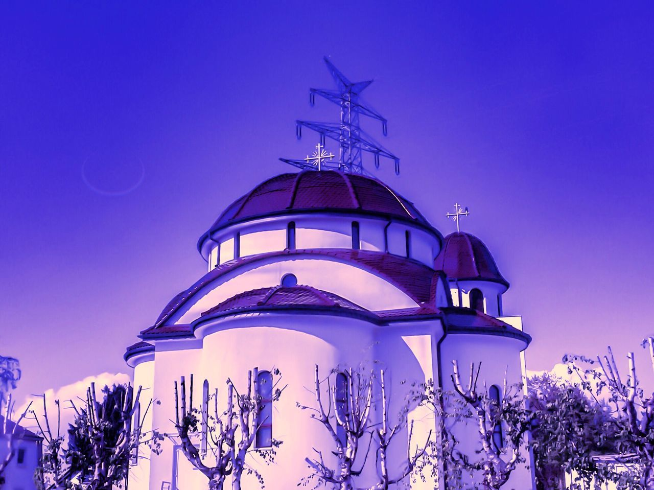 Architecture Low Angle View Built Structure Building Exterior Blue Clear Sky No People Outdoors Dome Nature Sky Day Church Oldchurch Reflection Colorful Creativity Creative Photography Nice Atmosphere Nice View Moon Background Backgrounds