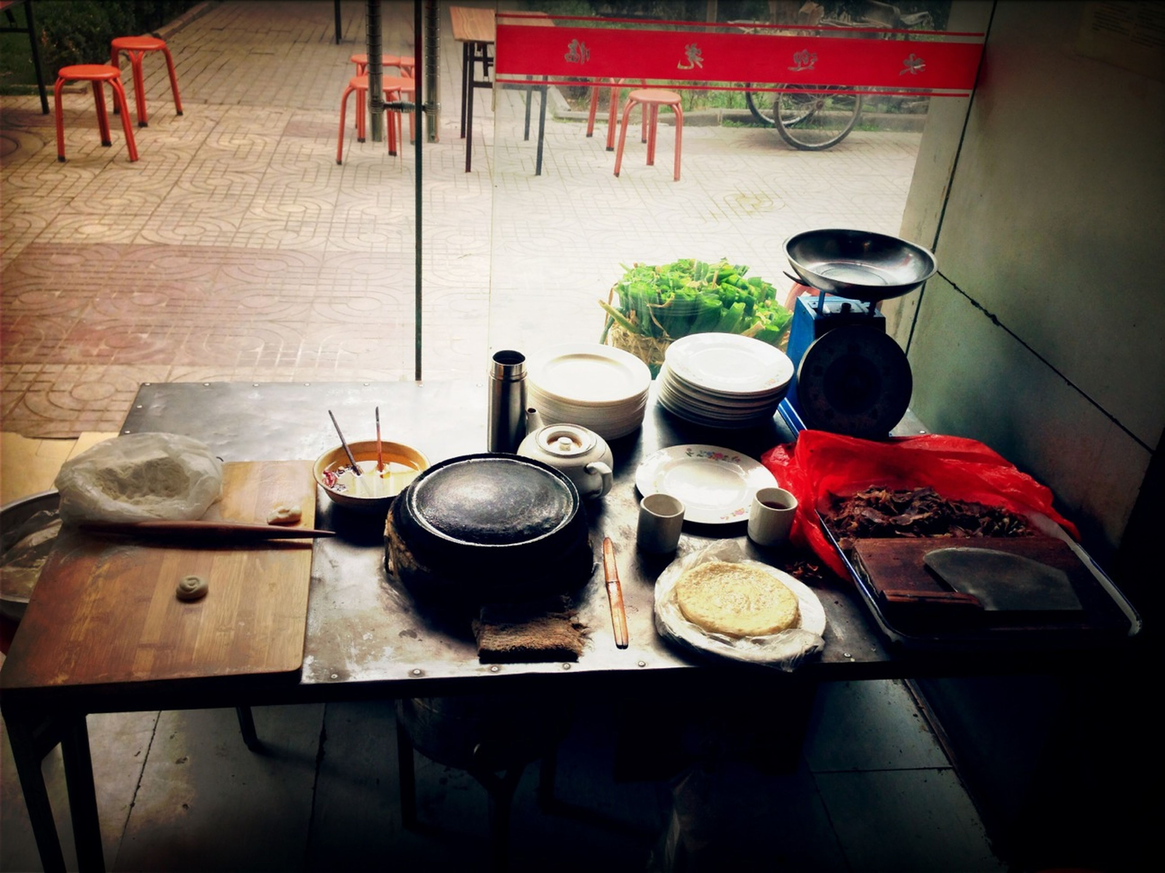 food and drink, indoors, table, food, high angle view, drink, freshness, still life, coffee cup, wood - material, chair, healthy eating, coffee - drink, absence, bowl, refreshment, domestic kitchen, no people, plate, container