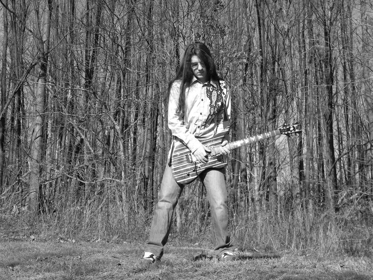 Black And White Photography Blackandwhite Blackandwhite Photography Full Frame Guitar Guitars One Person Rock N Roll Woods Young Adult Young Men