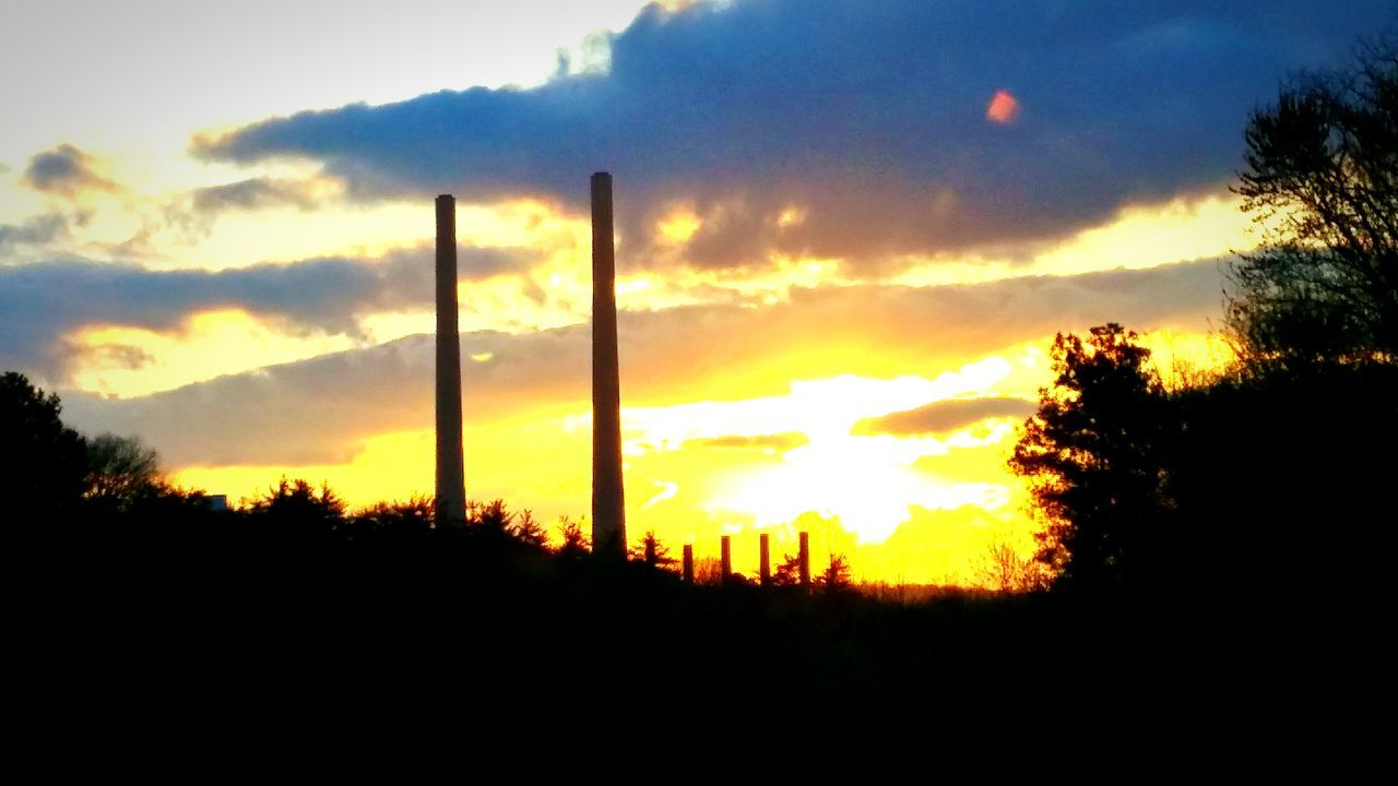 Sunset Smokestack Clouds And Sky Clouds Sun