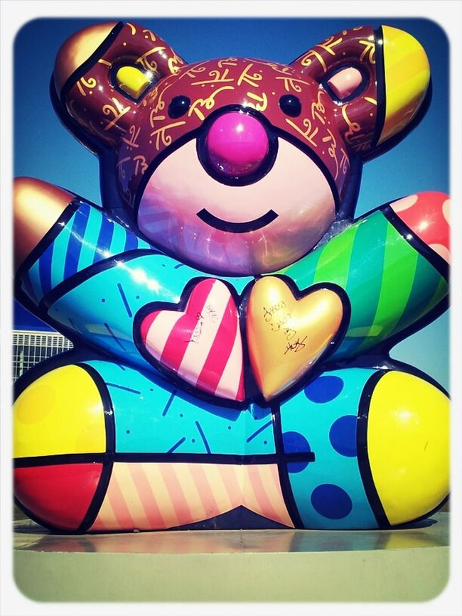 Hearts Taking Photos Smile Funny Colourful Bear Huge