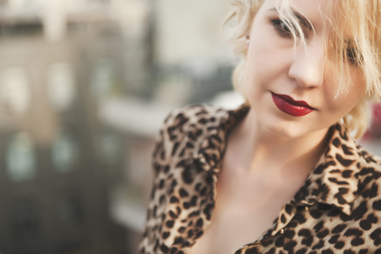 outdoor shooting EyeEmNewHere beautiful woman blond hair close-up day focus on foreground front view human lips Lipstick one person outdoors people real people Red red lipstick young adult young women