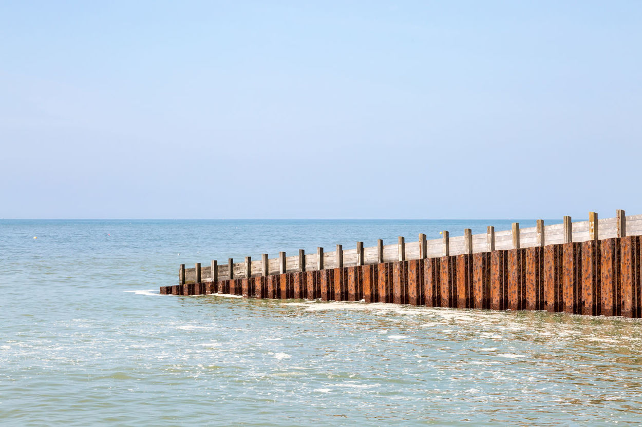 Groyne in the Sea Beach Beauty In Nature Clear Sky Day Groyne Horizon Over Water Jetty Nature No People Outdoors Scenics Sea Sea Defence Sky Tranquil Scene Tranquility Water