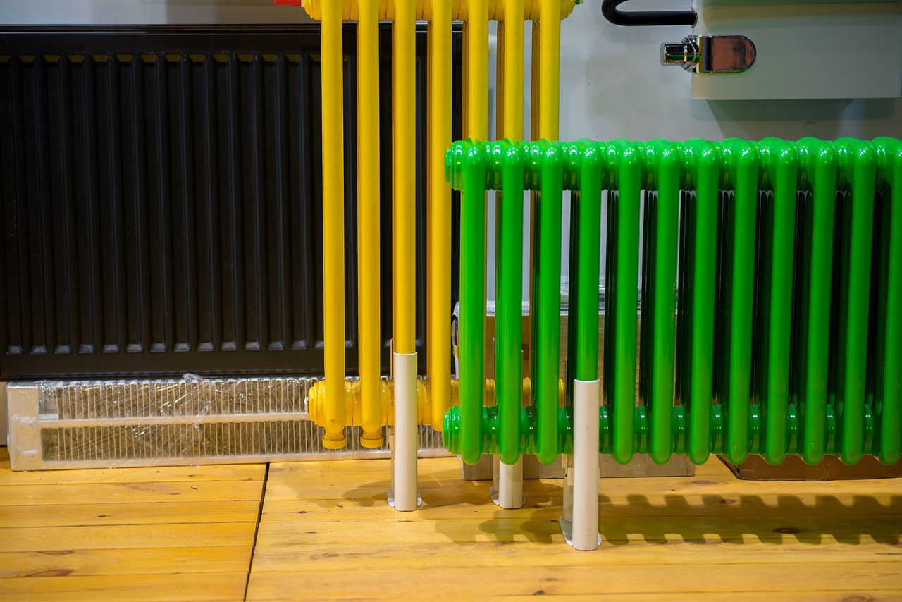 Radiators. Apartment Aquatic Boiler Bright Brown Central Convection Energy Fixture Flat Floor Green Color Heat Heating Home Hot Household Installation Interior Design Metal Modern Radiator Sistem Technology Yellow