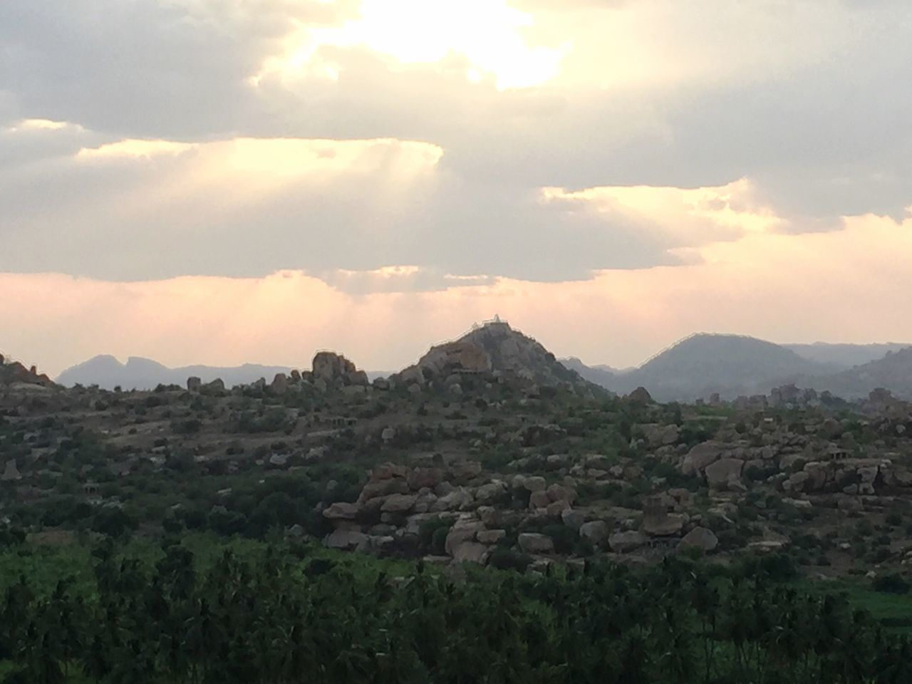 My Year My View Nature Beauty In Nature Mountain Tranquil Scene Scenics Landscape Tranquility Sky Sunset Weekend Mykindofparadise Peace Ancient Ancient Ruins Ancient City Stone Hampi  Makesmesmile India Check This Out Travel Destinations